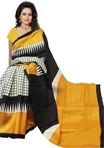 Kirz Web Store Women's cotton BhagalPuri Saree With Blouse Piece (KWS_168_BhagalPuri_Black&Yellow Color)