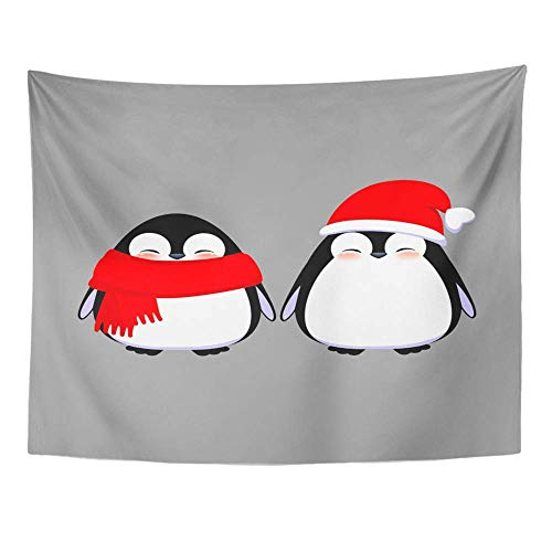 AOCCK Wandteppiche Wall Hanging Cute Penguin Characters Grey Happy Baby in Christmas Hat and Scarf 60
