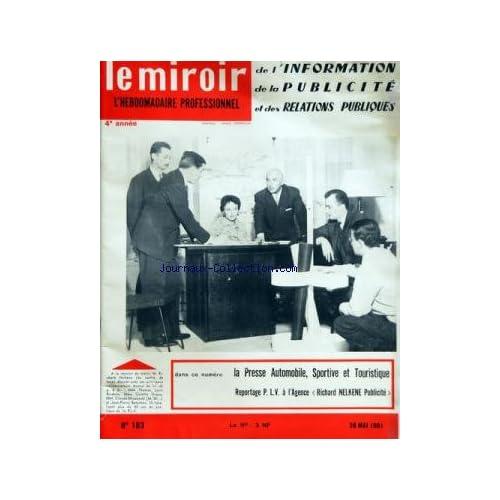 MIROIR DE L'INFORMATION DE LA PUBLICITE ET DES RELATIONS PUBLIQUES (LE) [No 183] du 26/05/1961
