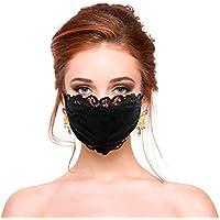 SeraISL ������������ Dentelle Femme, Floral ������������ Noir Drôle pour Adulte Protection Bandana Coton, Lavable, Tissu Réutilisable pour Cyclisme Camping Voyage Bandeau