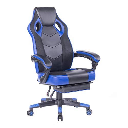 Wolmics Gaming-Stuhl mit Fußstütze,Computerstuhl Schreibtischstuhl Rennstil Ergonomisches Design Bürostuhl Mesh PU-Leder Drehsessel Chefsessel WS906 Blau