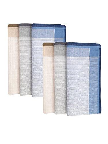 6 Stücke Herren Gestreifte Taschentücher Stofftaschentücher mit Streifen 100% Baumwolle 43cm*43cm - Blau Grau Khaki (Herren-khaki Gestreifte)