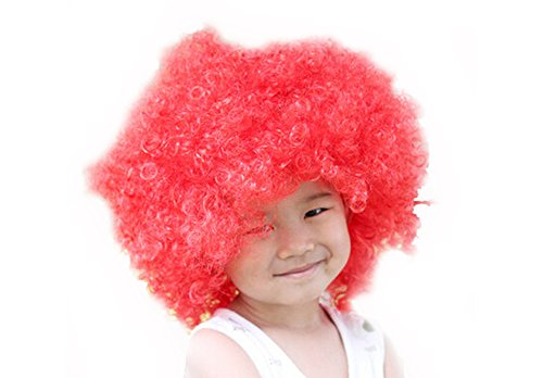 DELEY Kind Halloween Kostüm Bunt Lockig Afro Clown Perücke Party Perücke Zubehör Rot