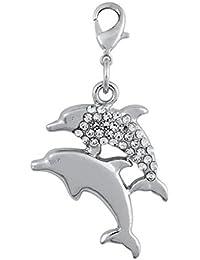 ENT Encantos de delfines con brillo - art. EL28083 - Lon. 4,5 cm - Anc. 2,6 cm - Alt. 0,5 cm - Ten by Varotto & Co.