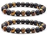 Bracelet de perles oeil de tigre noir - Bouddha composé de 2 pierres naturelles...