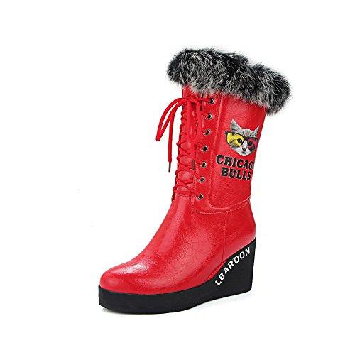 VogueZone009 Damen Mitte-Spitze Hoher Absatz Rund Zehe Tier Stoffdruck PU Leder Stiefel, Weiß, 36