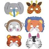 Animales De La Selva Espuma Máscara - Paquete de 6