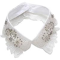 Jacinto Cuello Falso Flor de Cuatro Hojas Mujeres Elegantes Desmontable Falso Medio Camisa Blusa Cuello con Diamantes de Imitación, Blanco