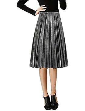 Relaxfeel Falda plisada mediana de cintura media de Metallic Sense de las mujeres