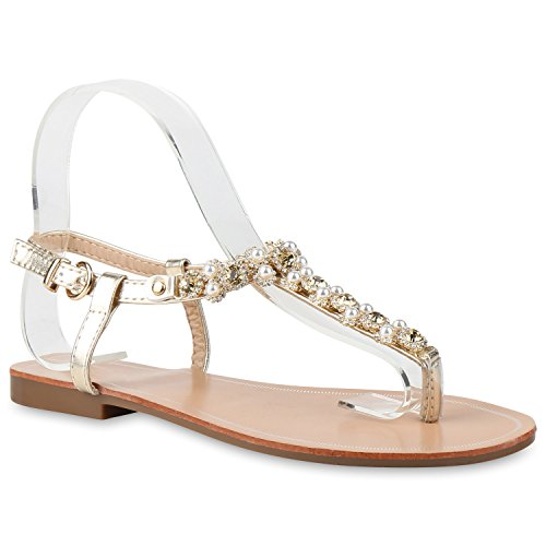 482afb8a7b026f Flache Damen Zehentrenner Metallic Sandalen Glitzer Beach Schuhe ...