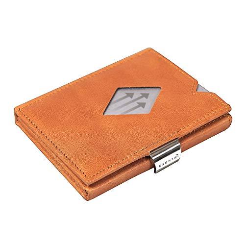 3a9af40375b EXENTRI Cartera Billetera para Mujer u Hombre de Cuero Naranja Bordado con  Nylon. hasta 12