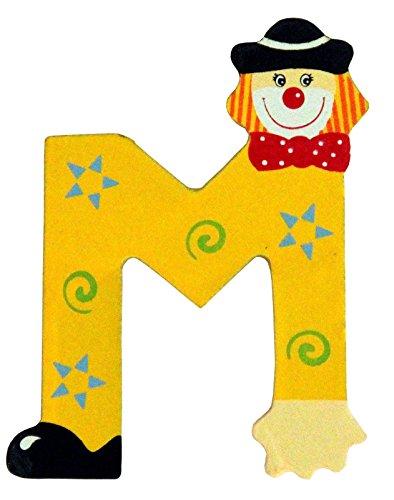 Holzbuchstaben und Zahlen- Clowns - mit Klebepad in zufälliger Farbe - Rimini Baustoffe® - Ideal für Türen und Schränke (Buchstabe M)