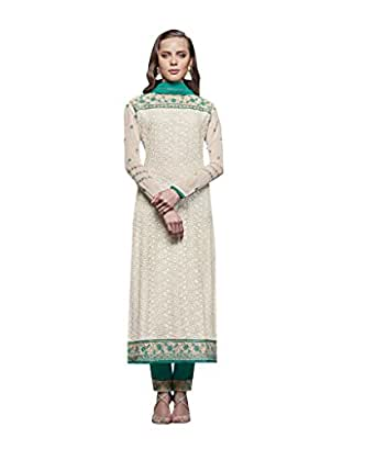 Great Discovery for White and Green Embroidered Churidar Semi Stitched Casual suit