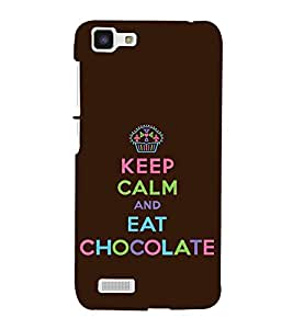 Fuson Designer Back Case Cover for Vivo Y27 :: Vivo Y27L (Keep CAlm Be Cool Be quiet Eat Chocolate Choco Love)