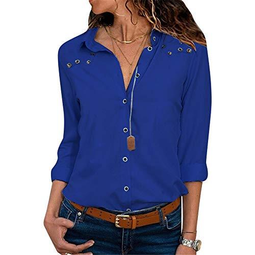 G-Anica Chemise Femme Chemisier Mousseline de Soie Boutonné T-Shirt Tunique Femme Chic Manches Longues Lâche Tops Blouse Casual Pull Haut Col V - Bleu - Taille L