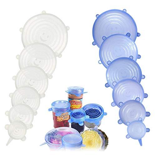 Coperchio in silicone estensibile 12pcs,silicone stretch coperchi. riutilizzabile da silicone bowl lids food saver covers wrap bowl pot cup coperchio confezione da 6 blue+6 trasparente
