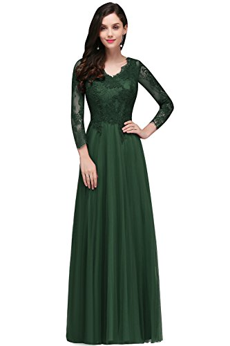 Damen Elegant Spitzen Brautkleid Hochzeitskleid standesamt Rückenfrei Lang Dunkel Grün 38