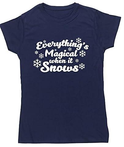 HippoWarehouse Damen T-Shirt Gr. Small, marineblau