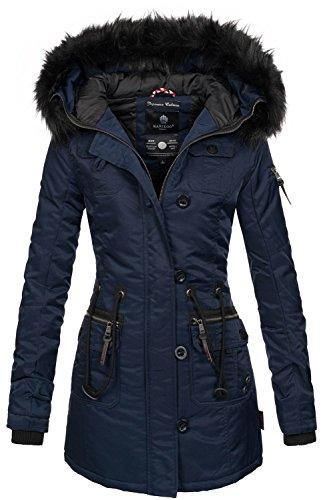 Marikoo warme Damen Winter Jacke Mantel Parka Winterjacke Teddyfell B388 [B388-Elle-Blau-Gr.M]