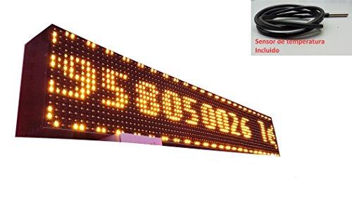 Schild LED programmierbar mit Sensor Temperatur- und Text-Uhr/Programmierbar Schild/Display programmierbar/Display/Programmierbare LED Leuchtreklame/Elektronische Uhr/Wimpelkette 96x16 Orange - Uhr Leuchtreklame
