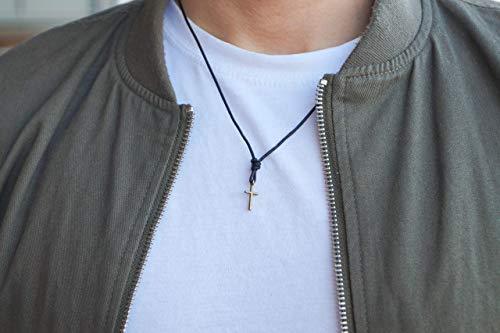 Surferkette Kreuz Kreuzkette Herren Damen Halskette Surfer Kette Made by Nami - Handmade Qualität aus Leder mit Anhänger und Perlen - Kreuz S