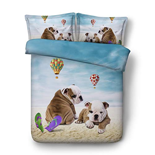 Girls Englisch Bulldog Bettwäsche Set Heißluftballon Bett Set Pilz Tagesdecke Blau Grün Bettdecke Ocean Tröster Bezug 3pc 1 Bettbezug 2 Pillowshams ()