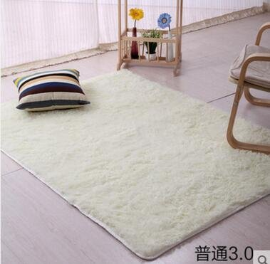 Tisch-teppich (KOOCO 100*200cm Home Textile Wohnzimmer Teppich Groß Mat lange Haare Schlafzimmer Teppich Kaffee Tisch Teppich Schlafzimmer Teppich Morden kurze Teppich, Cremeweiß, 160 CM X 200 CM)
