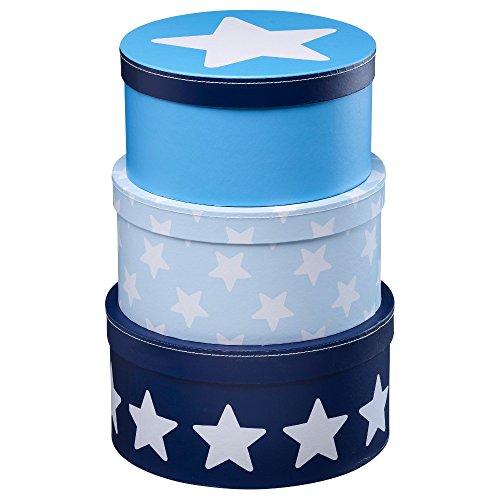Kids Concept 310721Cajas de Cartón redonda de 3unidades Azul