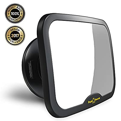 NEW & IMPROVED MODEL | ROYAL RASCALS Baby Car Mirror | #1 SAFEST rear view mirror for rearward facing child seat | BLACK | Fits any adjustable headrest | 100% shatterproof | ULTRA PREMIUM SAFETY PRODUCT produced by Royal Rascals - quick delivery from UK.