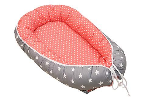ULLENBOOM ® Babynest in 10 Farben (55×95 cm Baby Cocoon, Kuschelnest aus Baumwolle, als Baby Reisebett, Kuschelbett geeignet)