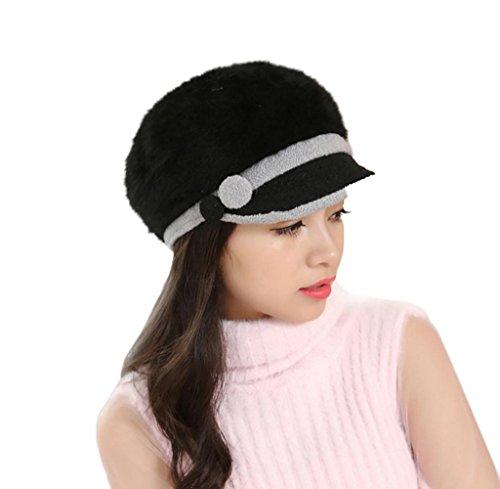 Tongshi Forme el sombrero del sombrero de Slouchy del ganchillo del esquí del Knit de las mujeres calientes del invierno (Negro)