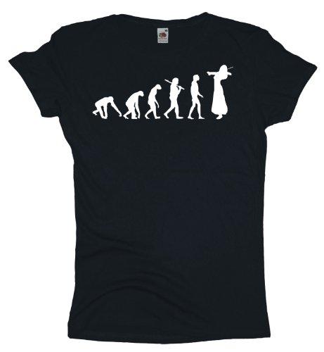 Ma2ca - Evolution - Violinistin - Damen Girlie T-Shirt -black-l