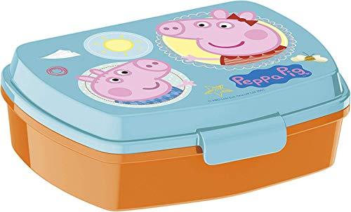 Javoli Peppa Pig Brotdose Lunchbox mit Peppa Wutz - ideal für die Pause in Kindergarten und Vorschule - Brotdose mit Praktischem Clipverschluß