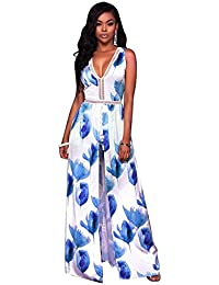 L , Blue : TOOGOO(R) Women's Sexy Boho Printed Romper Dresses Floral Deep V-Neck Backless Vestido Summer Lady...