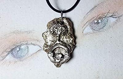 Bijou celtique/wicca/breton, pendentif unisexe, bronze-argent, Météorite+yggdrasil, arbre de vie celte+claddagh irlandais, cuir noir, pour hommes et femmes