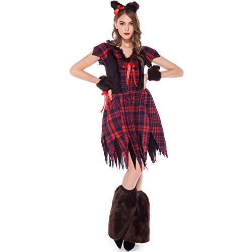 Kostüm Animal Weiblich Party - Halloween Kostüm Erwachsene Maskerade Party Animal Fox Katze Weibliche Rolle Spielen Nachtclub Bühne Cosplay Kostüme,Lattice,XL