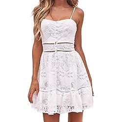 Overdose BotóN Floral De Las Mujeres del Verano De La Flor Atractiva Strappy Sling Vacaciones CóModa Playa SPA Ruffles Backless White Lace Dress (XL, Blanco)
