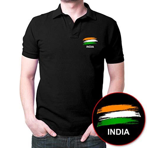 Fashion And Youth Men's Cotton India Flag Patriotic Polo T-Shirt (Black, Medium)