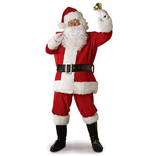 fagginakss 10/11teiliges Weihnachtsmann Nikolauskostüm Kostüm für Herren Mit - Tops + Hosen + Hüte + Gürtel + Bärte + Stiefel + Handschuhe + Brillen + Glocken + Taschen - Exotische Santa Kostüm