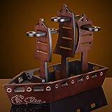 BLOIBFS Hölzernes Weinflaschengestell, Elegante Dekoration Der Schiffsform, Das Leben des Reibungslosen Segelns Bedeutend