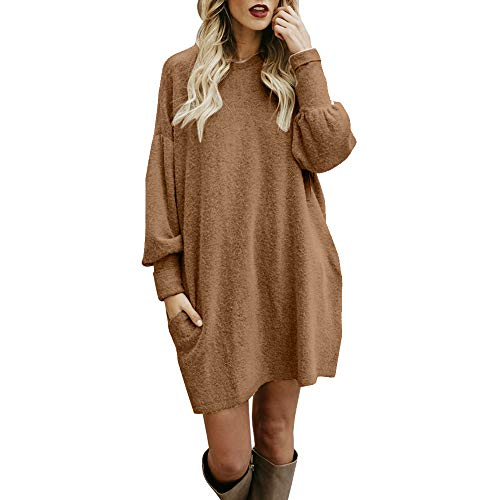 frozen inliner iHENGH Damen Winter Warm Bequem Pullover Mantel Lässig Mode Frauen Solide Oansatz Tasche Lange Langarm Lässige Lose Jacke Coat(Khaki,S)