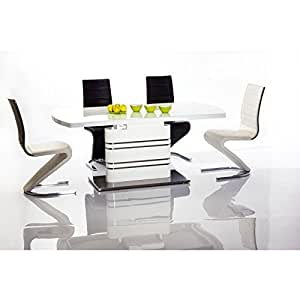 JUSThome Gucci Table à rallonge Blanc 76 x 90 x 180-220 cm