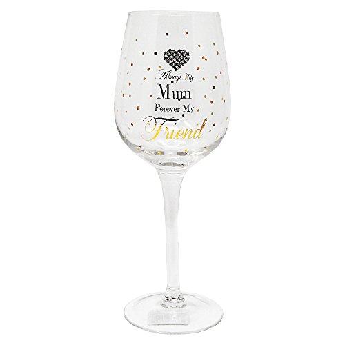 """Weinglas mit Aufschrift """"Always My Mum Forever My Friend"""