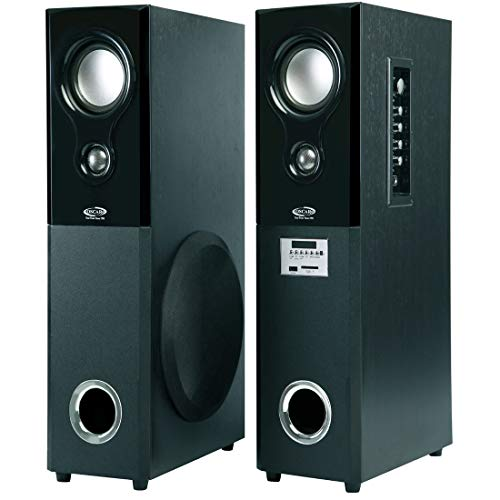 OSCAR OSC-16600BT - 2.0 Tower Bluetooth Speaker with Echo Control Karaoke Mic and 2 External Mic Slot (Black)