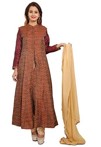 Utsav Fashion Woven Brocade Silk Anarkali Style Suit in Brown