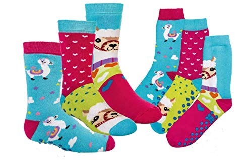 Standard 27 (TippTexx 24 6 Paar Kinder Thermo Stoppersocken, ABS Socken für Mädchen und Jungen, Ökotex Standard, Strümpfe mit Noppensohle, viele Muster (Lama, 27-30))