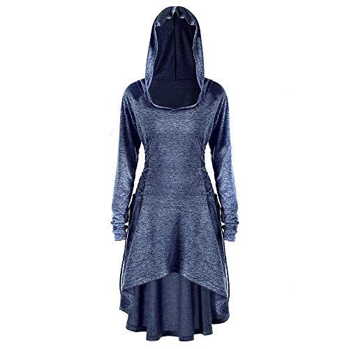 VEMOW Karneval Cosplay Party Ballkleid Damen Mode Langarm Mit Kapuze Mittelalterliches Kleid Bodenlangen Cosplay Kleid(X2-Marine, EU-36/CN-L) -