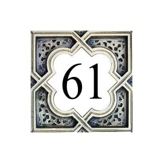 Azul'Decor35 House number plate earthenware - 10,8x10,8x0,5cm - Street number personalized choice!