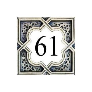 Azul'Decor35 Hausnummernplatte Steinfliesen – 15x15x0,5 cm - Wählen Sie Ihre Nummer!