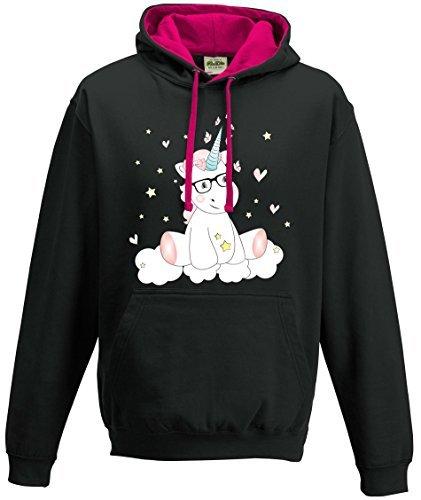Pull--Capuche-Sweat-Shirt-Femme-pull--capuche-Licorne-Licorne-cutie-avec-Lunettes